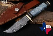 Custom Hand Forged Damascus Steel Hunting Knife W/risen And Brass Guard Handle1668