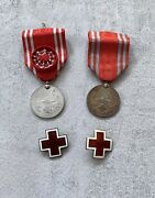 Vintage Lot Wwii Japan Red Cross Medal Ribbons Pin Guilloche Enamel Japanese Us