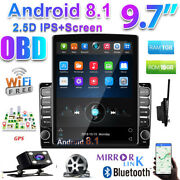 2din Android 8.1 Wifi Car Radio 9.7'' Vertical 2.5d Ips Gps Player+rear View Cam