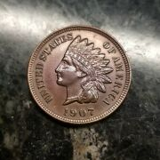 1907 Indian Head Cent Uncirculated Bronze Penny 1c Coin Collectible