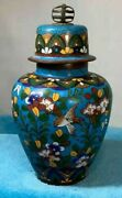 Vintage Asian Cloisonne Ginger Jar With Unusual Lid- Great Quality And Details