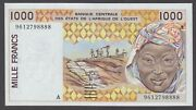 West African States P.111af Ivory Coast 1000 1,000 Francs 1996 Lucky S/n 8888
