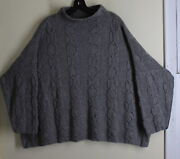Wow Nwt Eskandar O/s Hand-knit Gray 100 Cashmere Cable 25long Sweater