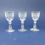 Antique French Crystal Needle Etched Cordials - Set Of Three