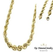 14k Yellow Gold Italy Diamond Cut Menand039s Solid Rope Chain Twist Necklace 4 Mm