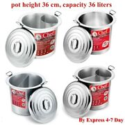 Pot Chef Zebra Stainless Steel Noodle Soup Curved Straight Kitchen Kettle 36 Cm.