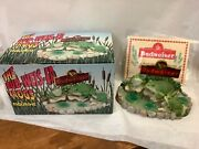 The Budweiser Frogs Figurine Display Budweiser Frog Family New W/paper