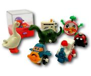 Vintage 70's Lot Of 8 Wind Up Toys By Tomy And Others Clock Duck Dino Game Plane