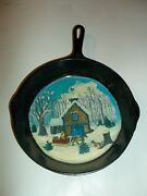 Mountain Cabin Snow Scene Painted In Wagner Skillet