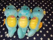 3 Fisher Price Ocean Wonders Seahorse Soothe Glow Musical Lights Plush Toy Blue