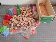 Vintage Wood Tinkertoy Lot Original Box 923-9658 With Pully Motor