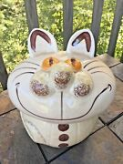 Vintage Caricature Cheshire Cat Cookie Jar Unique And One Of A Kind Pottery ❤️j8