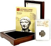 Roman Emperor Diocletian Coin Ngc Certified Auwith Beautiful Wood Box And Story