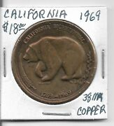 Tokens The Gold Land California 1969 38mm Copper