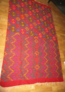 Wool Blanketfringevintage85.0 X 48.5bright Colorslong Stitchesold