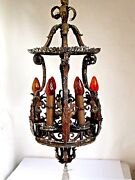 Antique Wrought Iron 6 Light Chandelier Large Early Spanish Revival