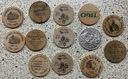 Lot 14 Vtg Wooden Nickels Wood Coins Tokens From Ia Nb Mn Az La Or