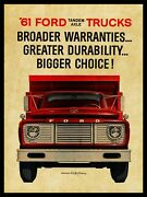 1961 Ford Trucks New Metal Sign Tandem Axle Dump Truck Front End Friday