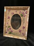 Fine Large Gilt Dore Brass Vintage Photo Picture Frame With Mother Of Pearl