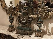 Antique Italian Clock And Candelabras Bronze Brass And Marble