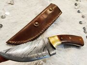 Hand Forged Damascus Steel Knife Hunting Rose Wood Andbrace Handle Small Mosaic