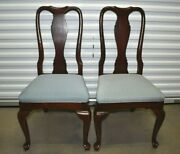 Ethan Allen Georgian Court Dining Side Chairs 2 Cherry Blue Seat 11-6211 225