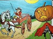 Vintage Halloween Postcard Horse And Buggy Coach Driver Gets Spooked Unused Rare