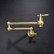 Brushed Gold Brass Pot Filler Wall Mounted Kitchen Faucet Dual Handles Cold Tap