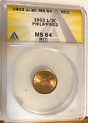 1903 Philippines 1/2 Cent Anacs Ms64 Red Scarce In Red