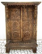 Antique Wooden Carved Floral Woman Bracket Carved Cabinet Window Door With Frame