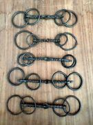 Antique Iron Horse Bridle Old Hand Forged Carved Unique Horse Bridle Bits 5 Pc