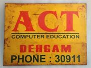 Vintage Act Computer Education Litho Print Sign Board Old Act Adv Tin Sign