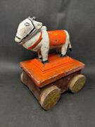 Antique Wooden Nandi Statue On Wheel Hand Carved Painted Cow Figure Pull Toy Old