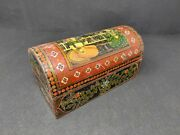 Antique Wooden King Queen Painted Box Hand Carved Floral Painted With Lock Old