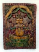 18th Antique Wooden Hand Carved Painted Hindu God Kuber Wall Panel Door Panel