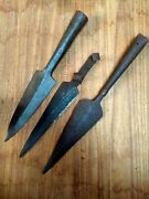 Antique Original Steel War Spear Head Spike Hand Forged Solid Spear 3 Pc Old