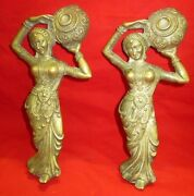 Lot 2 Handcrafted Tribal Lady Figurine Door Handle / Knob Collectible Patina