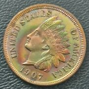 1907 Indian Head Cent In Choice Bu Condition Chbu+ Red / Rb Rainbow Toning