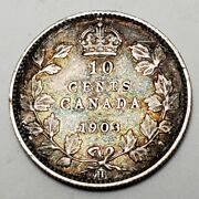 1903 H 10c Canada 10 Cents-km 10 Very Fine-free Usa Shipping-925 Sterling