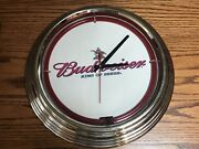 """Budweiser Beer Neon Light Wall Clock - Approx. 15"""" Includes Clydesdale Poster"""