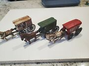 Cast Iron Fresh Milk + Ice + Us Mail Wagon With Horse Split Casting /andnbsp
