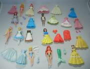 Lot Of Polly Pocket Disney Princess Dress-up Mini Dolls, Accessories And Clothing