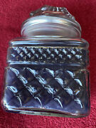 Vintage Yankee Candle Rare Old Htf Summer Holiday Square Cut Glass Jar Candle