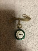 Vintage Antique Uhlmann Geneve With Enamel Lady Pocket Watches See Photos