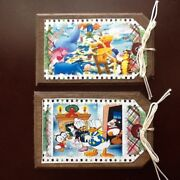 New 5 Handcrafted Wood Disney Characters Christmas Ornaments/hang Tags Set3r