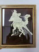 Vintage Hand Carved Inlaid Celluloid Picture Camel And Man Scene Wood Frame