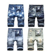 New Vintage Shorts Men Distressed Jeans Tight Trousers Casual Knee Length Pants
