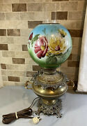 Vintage Brass Hurricane Oil Lamp Milk Glass Painted Flowers Floral Shade