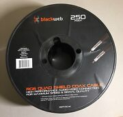 2 Pair Of Blackweb Rg6 Quad Shield Coaxial Cable 250and039 250ft Rolls Bwa18av023