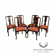Queen Anne Style Quality Set 6 Solid Mahogany Dining Chairs